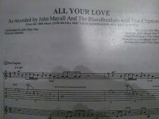 ERIC CLAPTON W/ THE BLUESBREAKERS -ALL YOUR LOVE- FULL SCORE WITH TABS AND NOTES