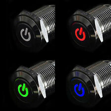 16mm 12V Car Silver Aluminum LED Power Push Button Metal ON/OFF Switch