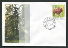 POLEN FDC FAUNA BISON BISONS WISENT WISENTE BUFALLO COVER POSTMARK d5995