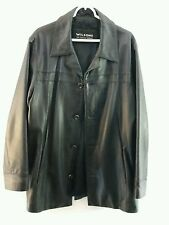 Wilson's Men's black leather Jacket sports coat medium Beautiful condition