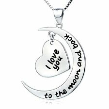 White Gold Plated 'I LOVE YOU TO THE MOON AND BACK'  Necklace Pendant LADY GIFT