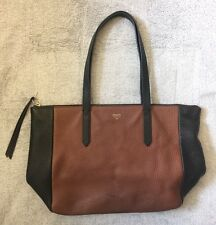 Fossil Black & Brown Leather Flat Bottom Tote Bag