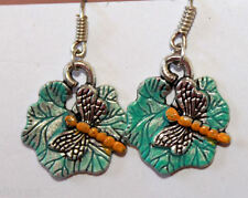 Dragonfly bug insect on leaf earrings