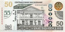 Suriname 50 Dollar 2012 Unc Pn 167 Commemorative 55 year central bank of Surinam
