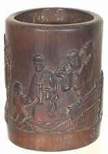 Antique Chinese Hand Carved Bamboo Brush Pot / Pen Holder w Chinese Story Design
