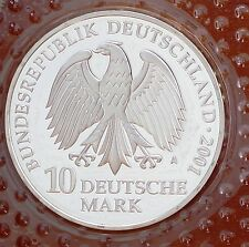 2001 A Germany 10 Mark Silver Coin  KM# 204 in Mint Blister GEM PROOF