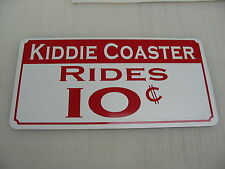 KIDDIE COASTER RIDES Sign Vintage Roller Carnival Fair Boardwalk Amusement Park