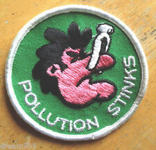 Vintage POLLUTION STINKS Patch - Hippie Ecology Camping Hiking Skiing Patch