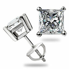 3.0 Ct Solitaire Princess Cut Stud Earrings Lab Diamond 14K White Gold Screwback