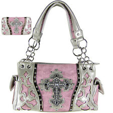 LIGHT PINK WESTERN RHINESTONE CROSS LOOK SHOULDER HANDBAG WITH WALLET