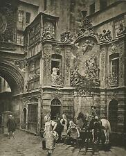 ANTIQUE NORMANDY STREET OF THE GREAT CLOCK IN ROUEN HOUSE HORSE FOUNTAIN PRINT
