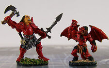 Dungeons Dragons Lot of 2 Pro Painted Metal Miniatures 44mm Warrior + 32mm Demon