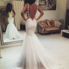 2016 Sexy Backless Ivory Lace Mermaid Wedding Dress Bride Gown6 8 140 12 14 ++++