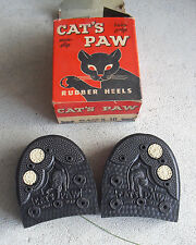Vintage 1950s Cat's Paw Twin Grip Rubber Shoe Heels 9-10 in Box