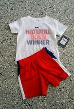 New Nike Kids Boys Graphic T-Shirt & Short Pants White Red Outfit Set 18 Months