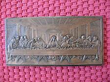 Relief Wandrelief 100 Jahre alt Abendmahl Kupfer auf Eichenholz