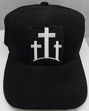 THREE CROSSES Christian Jesus Patch Baseball Ball Cap Adjustable Biker CAP-0046