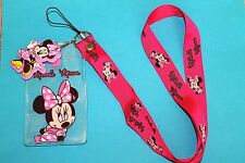 DISNEY MINNIE MOUSE LANYARD PIN FASTPASS ID HOLDER WITH LOGO CHARM NEW !