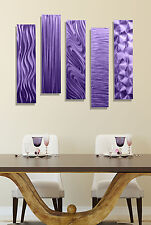 Ready to Hang Painting Metal Wall Art Decor Sculpture - 5 Easy Pieces Purple