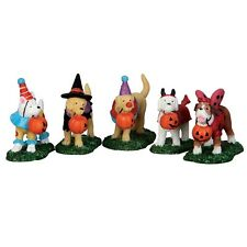 LEMAX SPOOKY TOWN TRICK OR TREATING DOGS, SET OF 5 -  ITEM # 52301 NIP