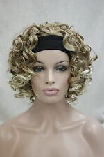 Blonde Mixed short Curly Spiral Curls Women Lady 3/4 half wig headband FTLG052