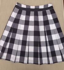 Boden Stripped, Checkered Navy/Grey/Black and White Pleated A-line Skirt