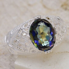 4Ct Rainbow Blue Topaz 925 Solid Sterling Silver Victorian Ring Size 7 GR692L