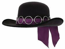 Jimi Hendrix Hat Jimmy Guitar Retro Black Purple Rockstar Pimp Costume Mens
