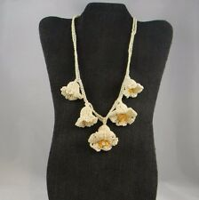 Vtg Hand Crochet Necklace White Bell Flowers Yellow Center Snap Close