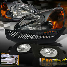 2001-2003 Honda Civic JDM Type-R Black Grille+Black Headlights & Clear Fog Light