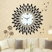 3D Wall Clock Black Round Art Acryl Diamond Decorative Clock