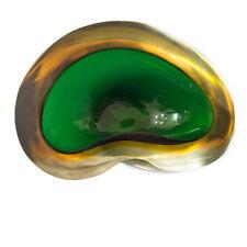 Sommerso Murano Glas Schale Aschenbecher grün gelb glass bowl ash tray