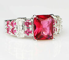 Fashion Jewelry Red Garnet Silver Filled Wedding Ring Crystal Gift Size 9