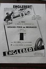Ancienne publicité presse 1934 - PNEU ENGLEBERT / CHAPEAUX FLECHET