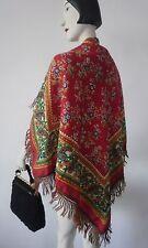 russ Schultertuch wollquasten TRUE VINTAGE 100x100 Folklore Tuch Schal ornamente
