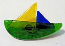 Vintage Hand Made Colored Glass Sailboat Brooch Pin
