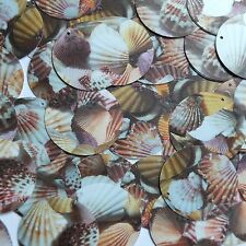 Round Sequin 30mm Brown Pink White Seashell Print Opaque