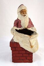 Antique/ Vintage Paper Pulp/Egg Carton Santa Candy Holder With Chimney & Sack