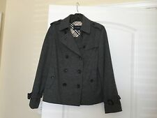 Authentic Gray Wool BURBERRY LONDON Peacoat Coat Trench Jacket 44 8 or 10