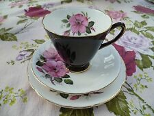 Vintage Antiguo Royal China trío Taza De Té Platillo Sampson Smith Negro Arlequín Rose