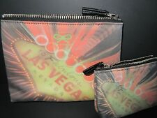 ANYA HINDMARCH Set of 2 Las Vegas Nylon Makeup/ Coin Bag Pouch VERY RARE *NWOT*