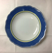 "HUTSCHENREUTHER MEDLEY MANTOVA BLUE RIM SOUP BOWL 8 1/4"" PORCELAIN NEW  GERMANY"
