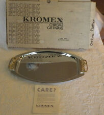 "Kromex Chrome Oval Serving Tray Plate NIB Vintage Holiday 57927 16"" x 9.5"""