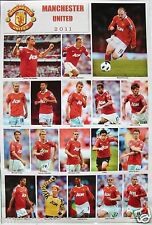"MANCHESTER UNITED 2011 ""18 SHOTS OF PLAYERS"" POSTER -Rooney,Giggs,Owen,Hernandez"