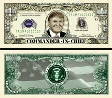 Trump Commander-In-Chief Million Dollar Bill Fake Funny Money Novelty Note