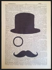 Moustache Print Vintage Dictionary Page Wall Art Picture Hipster Monocle Top Hat