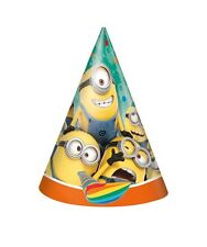 DESPICABLE ME Minions ~ (8) PARTY HATS ~ Birthday Party Supplies Favors