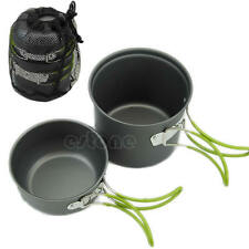 Portable Outdoor Camping Hiking Cooking Nonstick Bowl Pots Pans Cookware Set New