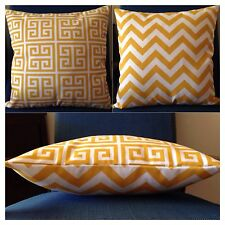 45x45cm Indoor/Outdoor Citrus Yellow/White Chevron/Geometric Cushion Cover