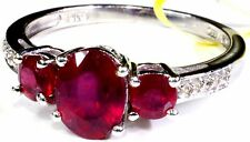 Niassa Ruby, White Topaz Ring (Size 9) Platinum Over Sterling Silver TGW 2.30 Ct
